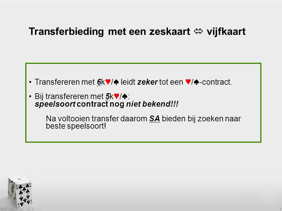 v2.5 NdF-h3 7 Transferbieding met een zeskaart  vijfkaart Transfereren met 6k♥/♠ leidt zeker tot een ♥/♠-contract. Bij transfereren met 5k♥/♠: speels