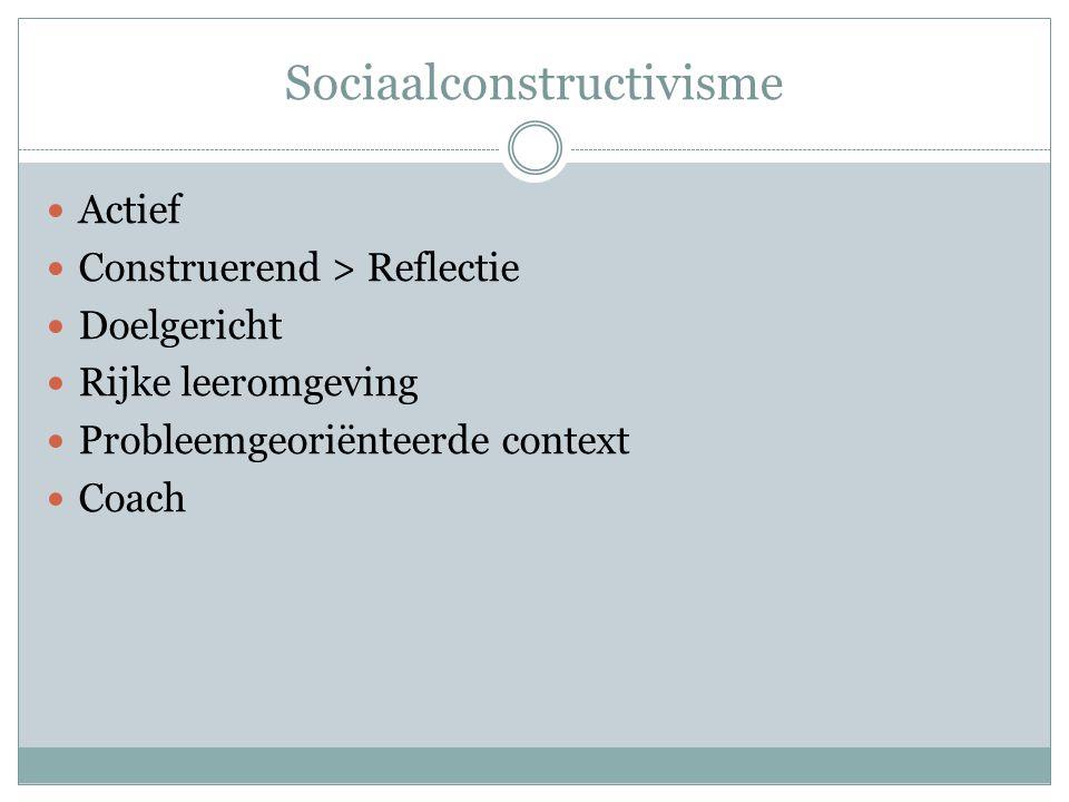 Sociaalconstructivisme Actief Construerend > Reflectie Doelgericht Rijke leeromgeving Probleemgeoriënteerde context Coach