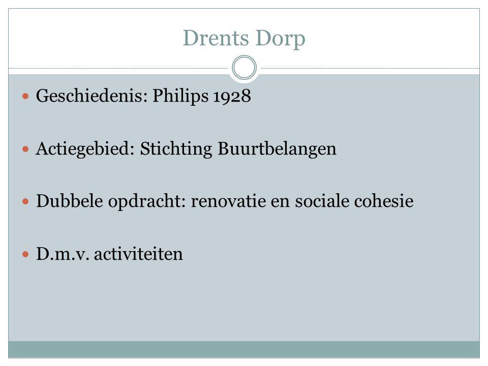 Drents Dorp Geschiedenis: Philips 1928 Actiegebied: Stichting Buurtbelangen Dubbele opdracht: renovatie en sociale cohesie D.m.v.