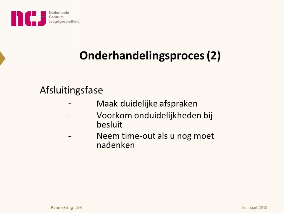 Onderhandelingsproces (2) Afsluitingsfase - Maak duidelijke afspraken -Voorkom onduidelijkheden bij besluit -Neem time-out als u nog moet nadenken Ken