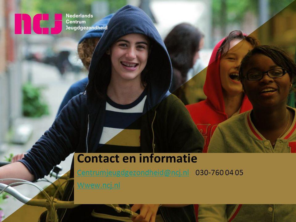 Contact en informatie Centrumjeugdgezondheid@ncj.nlCentrumjeugdgezondheid@ncj.nl030-760 04 05 Wwew.ncj.nl