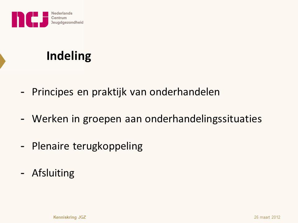 Indeling -Principes en praktijk van onderhandelen -Werken in groepen aan onderhandelingssituaties -Plenaire terugkoppeling -Afsluiting Kenniskring JGZ