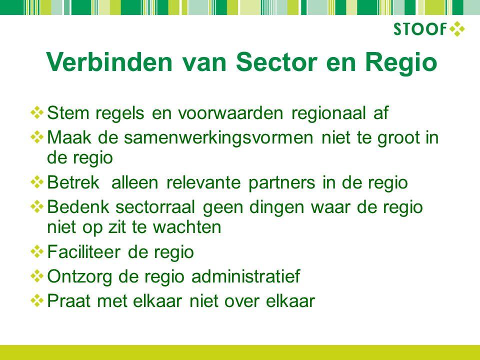 Verbinden van Sector en Regio  Stem regels en voorwaarden regionaal af  Maak de samenwerkingsvormen niet te groot in de regio  Betrek alleen releva