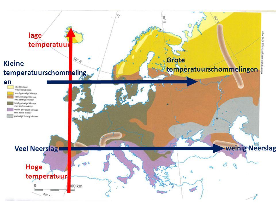 lage temperatuur Hoge temperatuur Kleine temperatuurschommeling en Grote temperatuurschommelingen