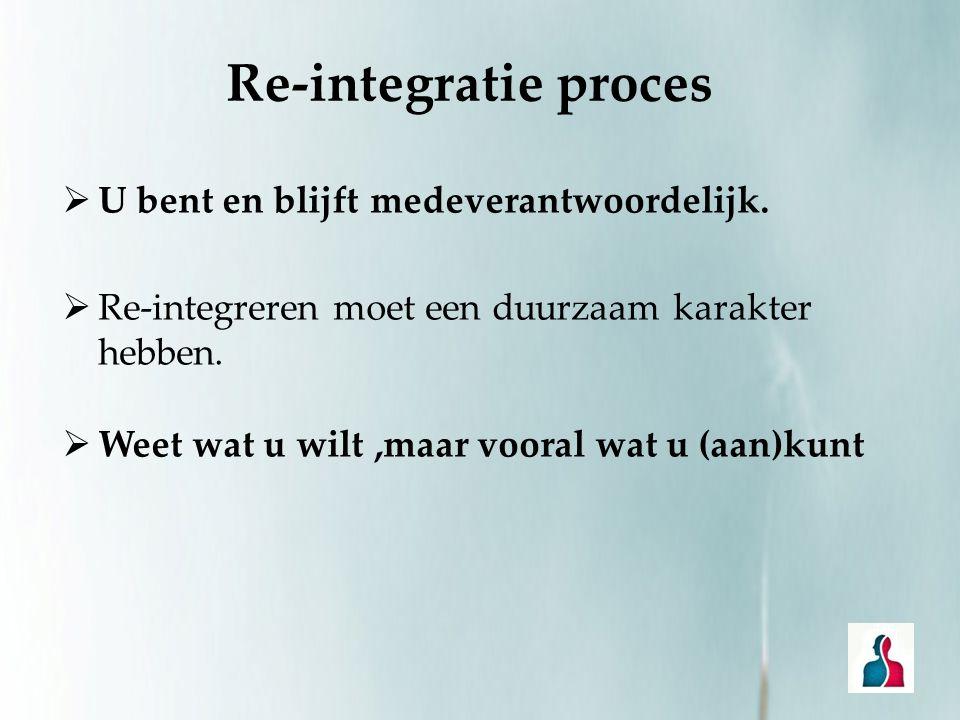 Re-integratie proces  U bent en blijft medeverantwoordelijk.  Re-integreren moet een duurzaam karakter hebben.  Weet wat u wilt,maar vooral wat u (