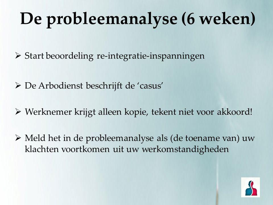 De probleemanalyse (6 weken)  Start beoordeling re-integratie-inspanningen  De Arbodienst beschrijft de 'casus'  Werknemer krijgt alleen kopie, tek