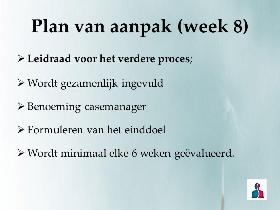 Plan van aanpak (week 8)  Leidraad voor het verdere proces;  Wordt gezamenlijk ingevuld  Benoeming casemanager  Formuleren van het einddoel  Word