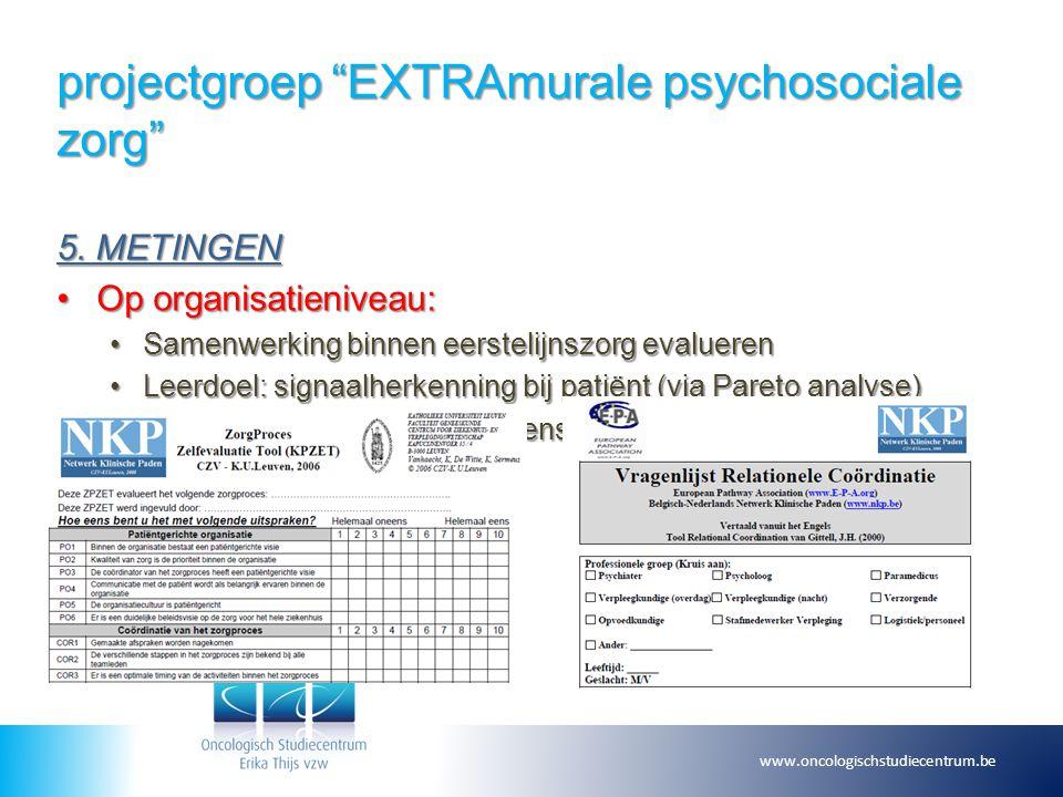 """projectgroep """"EXTRAmurale psychosociale zorg"""" 5. METINGEN Op organisatieniveau:Op organisatieniveau: Samenwerking binnen eerstelijnszorg evaluerenSame"""