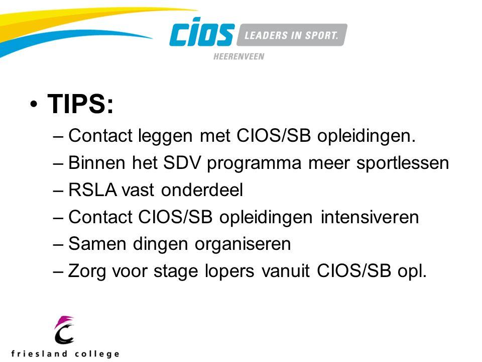 TIPS: –Contact leggen met CIOS/SB opleidingen.