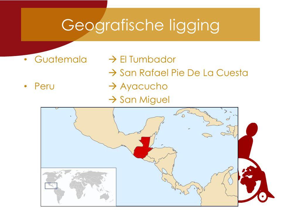 Geografische ligging Guatemala  El Tumbador  San Rafael Pie De La Cuesta Peru  Ayacucho  San Miguel
