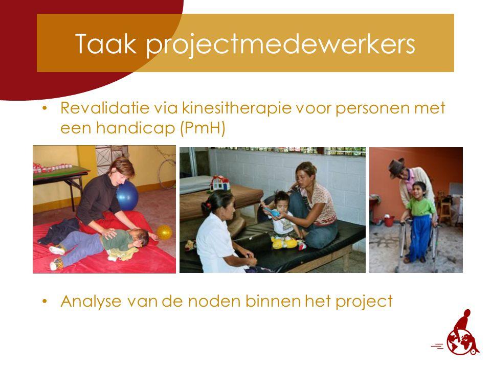 Taak projectmedewerkers Revalidatie via kinesitherapie voor personen met een handicap (PmH) Analyse van de noden binnen het project