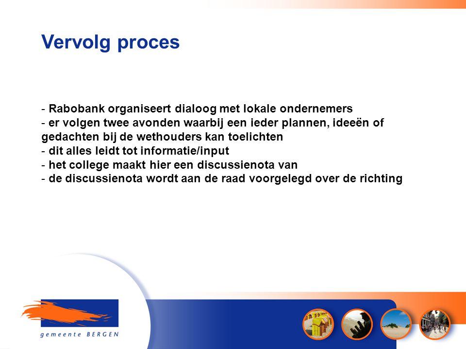 Vervolg proces - Rabobank organiseert dialoog met lokale ondernemers - er volgen twee avonden waarbij een ieder plannen, ideeën of gedachten bij de we