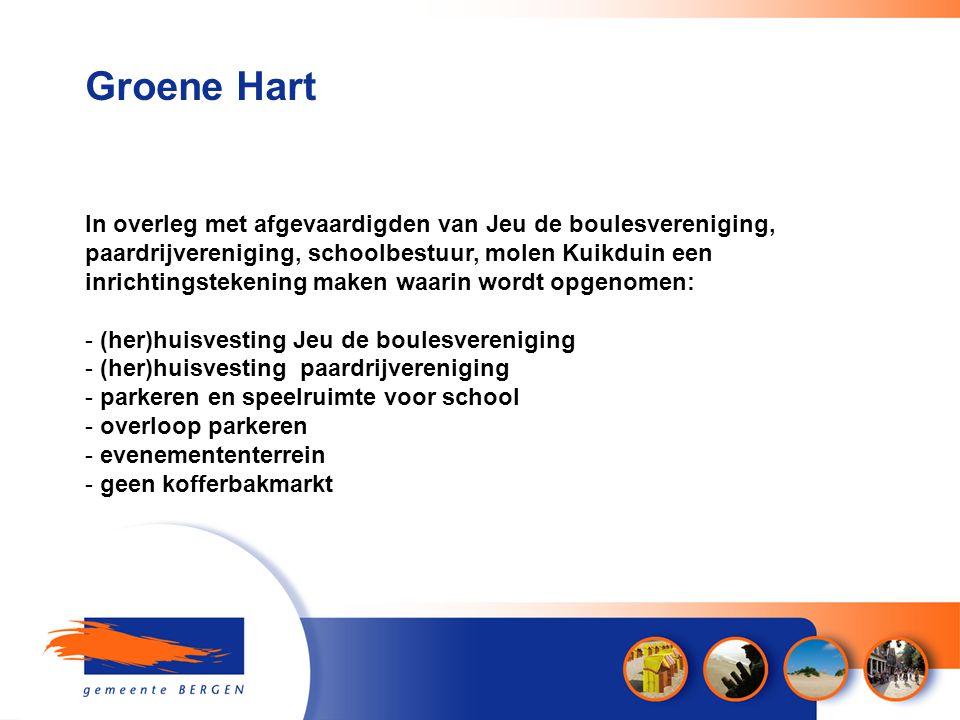 Groene Hart In overleg met afgevaardigden van Jeu de boulesvereniging, paardrijvereniging, schoolbestuur, molen Kuikduin een inrichtingstekening maken