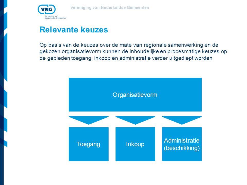 Vereniging van Nederlandse Gemeenten Relevante keuzes Op basis van de keuzes over de mate van regionale samenwerking en de gekozen organisatievorm kun