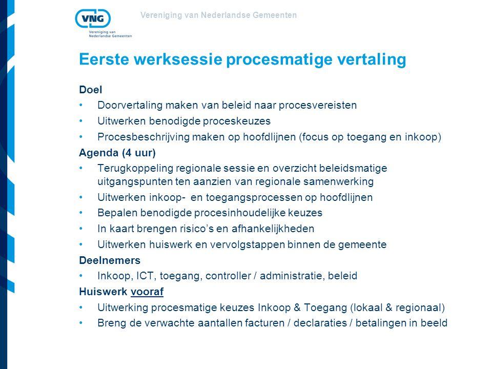 Vereniging van Nederlandse Gemeenten Eerste werksessie procesmatige vertaling Doel Doorvertaling maken van beleid naar procesvereisten Uitwerken benod
