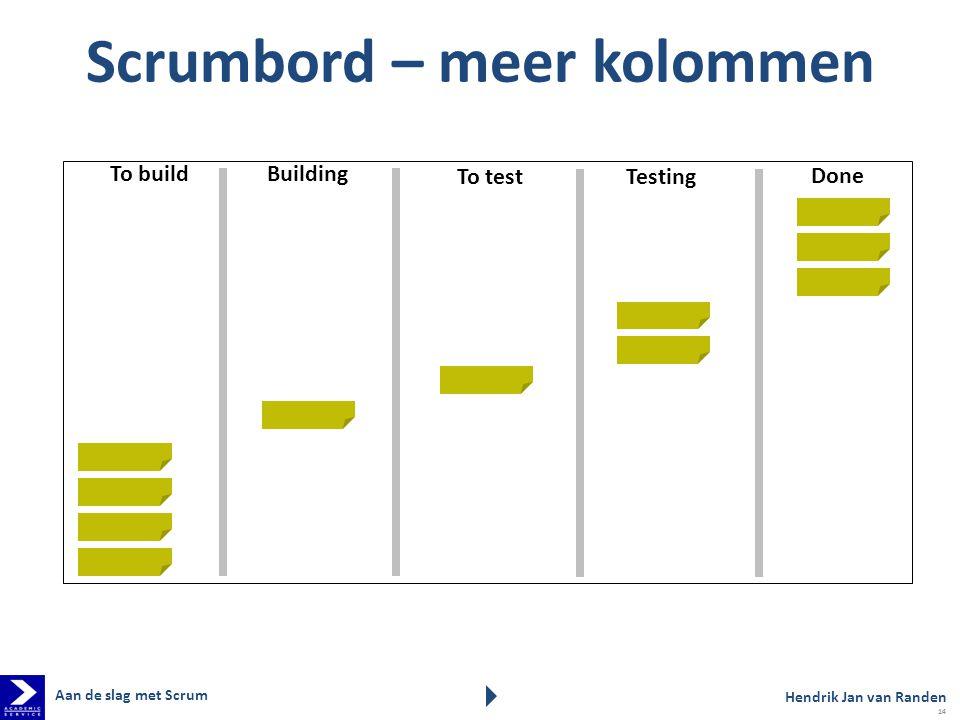 Scrumbord – meer kolommen To build Building Done To test Testing Hendrik Jan van Randen Aan de slag met Scrum 14