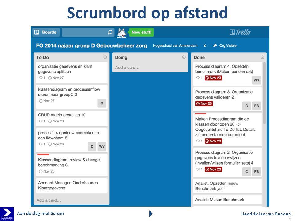 Scrumbord op afstand Aan de slag met Scrum Hendrik Jan van Randen 15