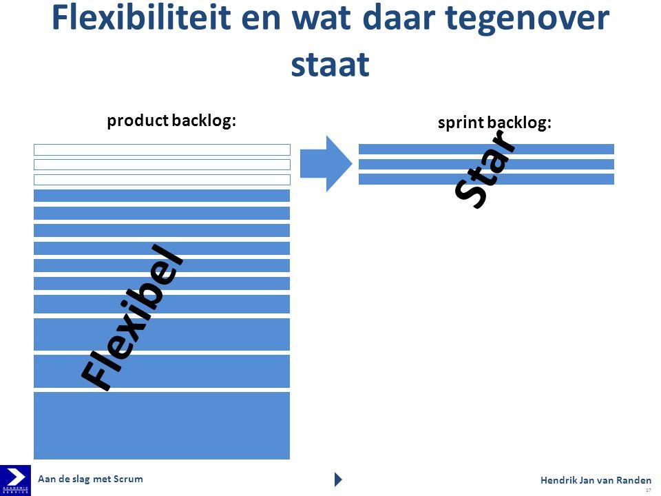 product backlog: sprint backlog: Flexibiliteit en wat daar tegenover staat Flexibel Star Hendrik Jan van Randen Aan de slag met Scrum 17