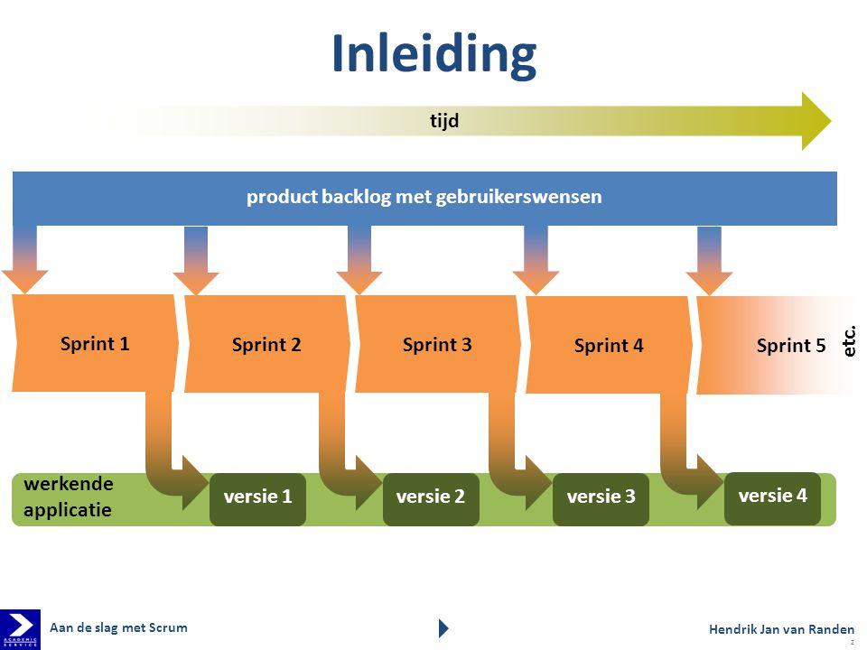 Sprint 5 Sprint 3 Sprint 1 tijd Sprint 4 Sprint 2 etc. werkende applicatie versie 1 versie 2 versie 3 versie 4 Inleiding Hendrik Jan van Randen produc