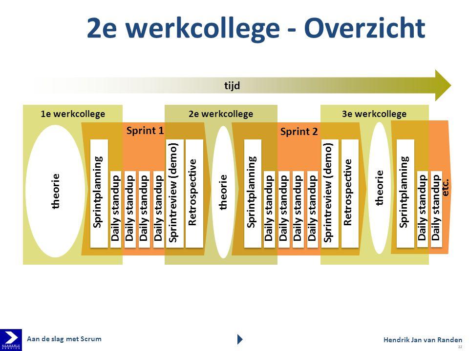 Sprint 2 2e werkcollege1e werkcollege Sprintplanning Daily standup tijd 2e werkcollege - Overzicht Retrospective Sprintreview (demo) Daily standup 3e