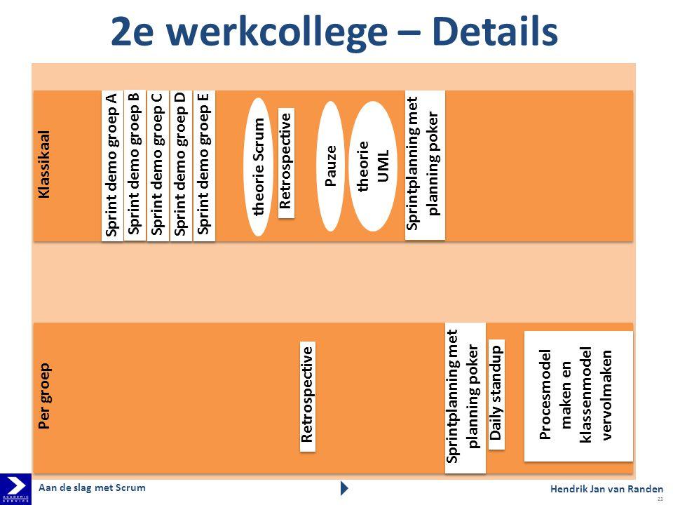 Klassikaal Per groep 2e werkcollege – Details theorie UML theorie Scrum Pauze Sprintplanning met planning poker Daily standup Procesmodel maken en kla