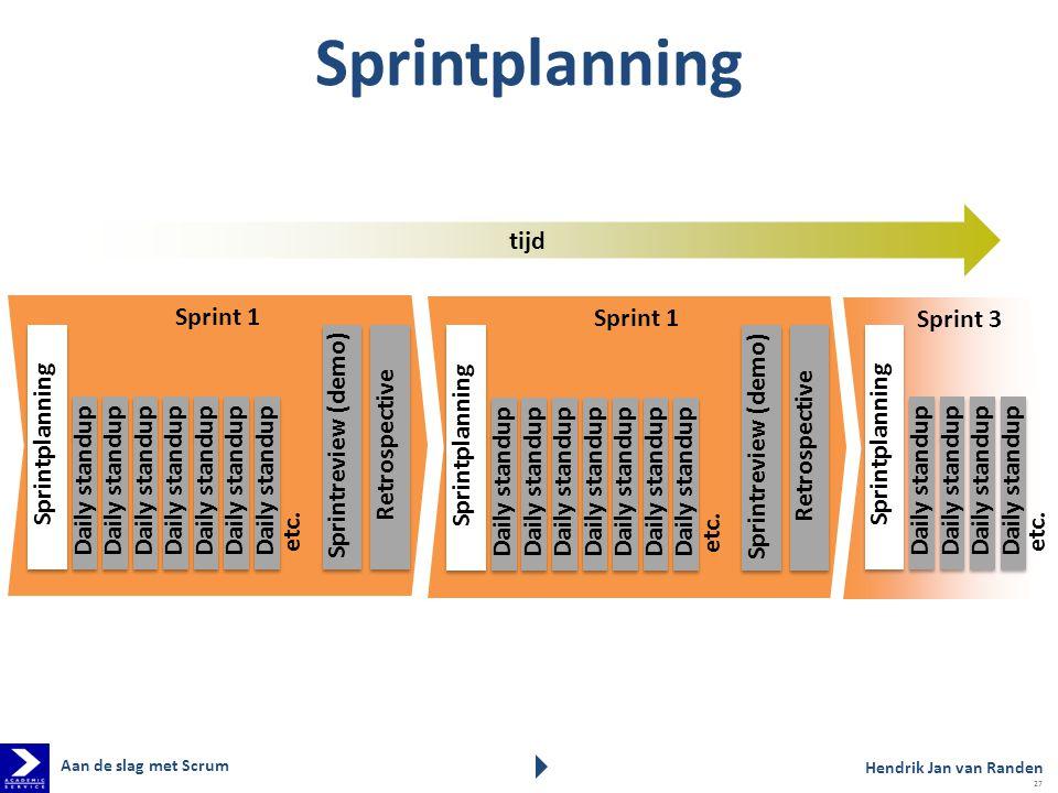 Sprint 3 Sprint 1 Sprintplanning Retrospective Sprintreview (demo) Daily standup etc. Sprintplanning Daily standup etc. Sprintplanning Retrospective S