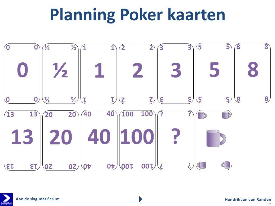 Planning Poker kaarten 1 1 1 1 1 2 2 2 2 2 3 3 3 3 3 5 5 5 5 5 8 8 8 8 8 13 20 40 100 0 0 0 0 0 ? ? ? ? ? ½ ½ ½ ½ ½ Hendrik Jan van Randen Aan de slag
