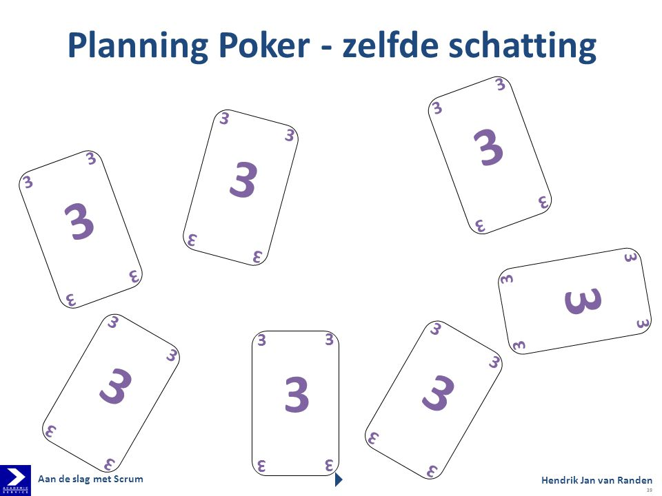 Planning Poker - zelfde schatting 3 3 3 3 3 3 3 3 3 3 3 3 3 3 3 3 3 3 3 3 3 3 3 3 3 3 3 3 3 3 3 3 3 3 3 Hendrik Jan van Randen Aan de slag met Scrum 39