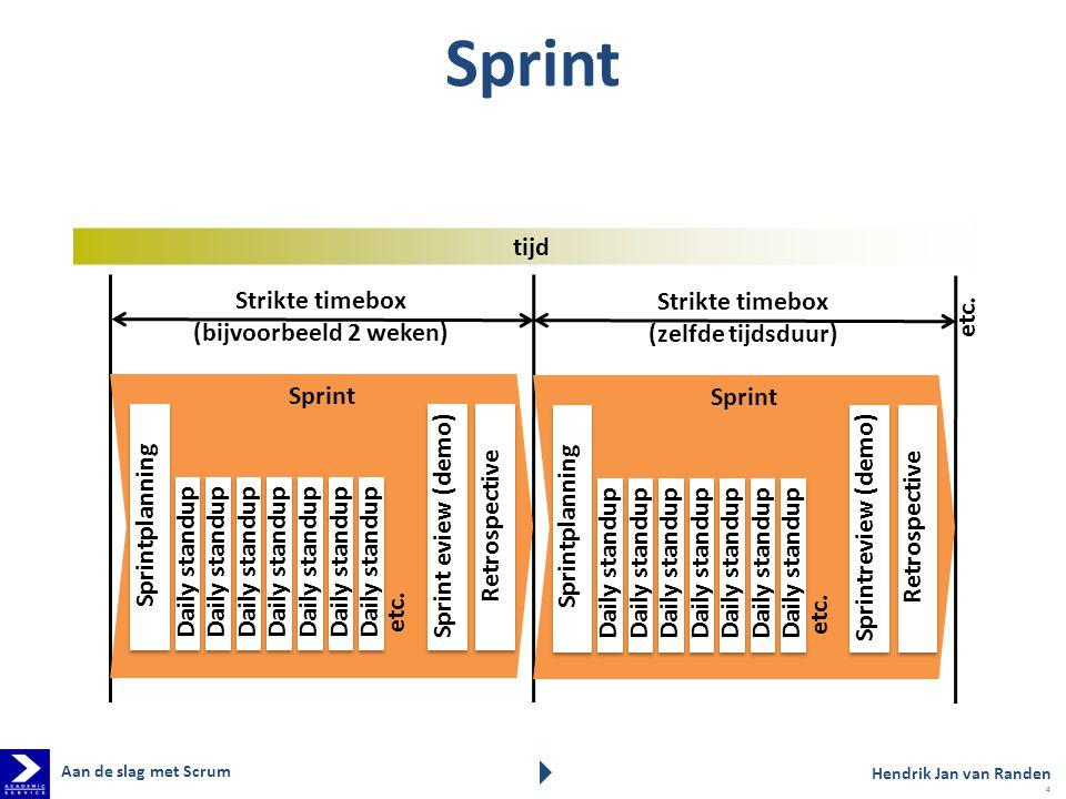 Strikte timebox (bijvoorbeeld 2 weken) Sprint Sprintplanning Retrospective Sprint eview (demo) Daily standup etc.