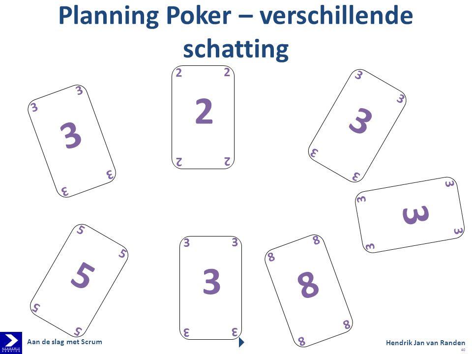 Planning Poker – verschillende schatting 3 3 3 3 3 2 2 2 2 2 5 5 5 5 5 3 3 3 3 3 3 3 3 3 3 3 3 3 3 3 8 8 8 8 8 Hendrik Jan van Randen Aan de slag met Scrum 40