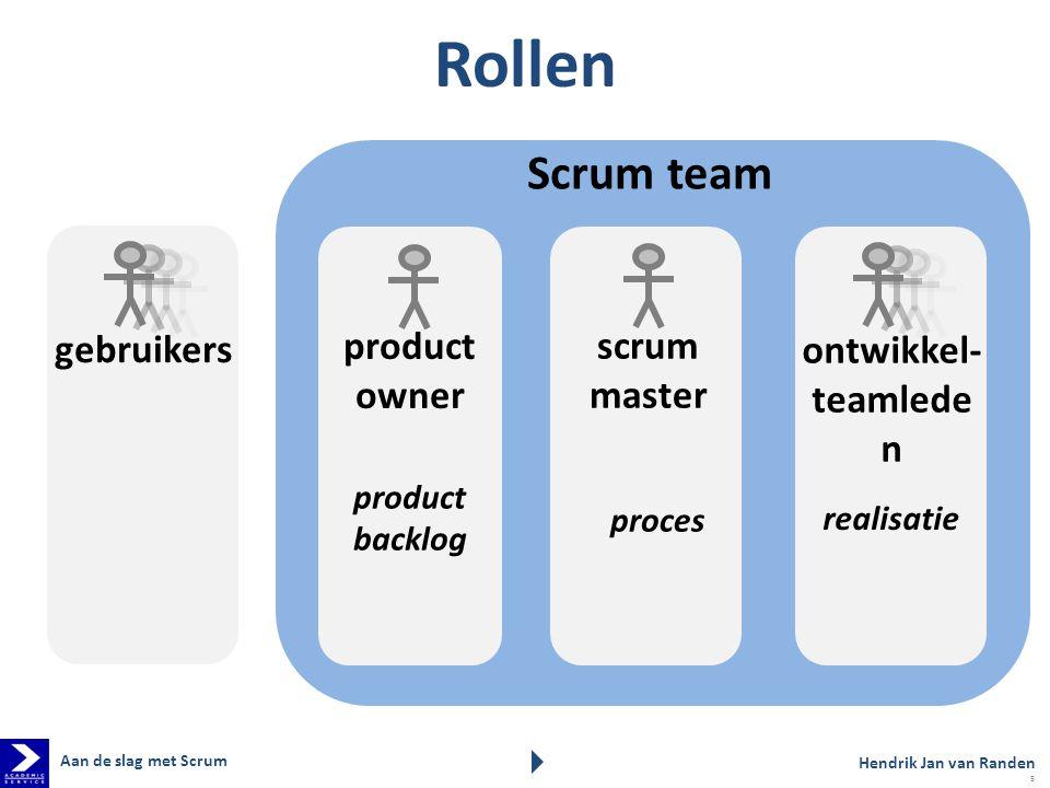 Scrum team Rollen scrum master proces product owner product backlog ontwikkel- teamlede n Hendrik Jan van Randen Aan de slag met Scrum gebruikers real