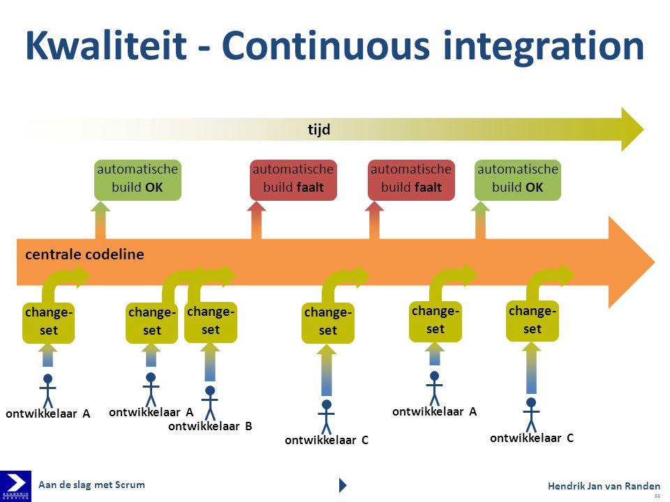 Kwaliteit - Continuous integration tijd centrale codeline change- set automatische build OK change- set automatische build faalt automatische build OK