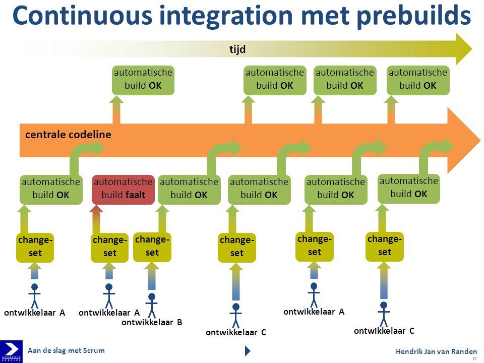 automatische build OK automatische build faalt tijd Continuous integration met prebuilds centrale codeline change- set automatische build OK ontwikkel