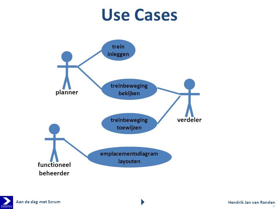 Use Cases verdeler treinbeweging toewijzen planner trein inleggen treinbeweging bekijken functioneel beheerder emplacementsdiagram layouten Hendrik Ja