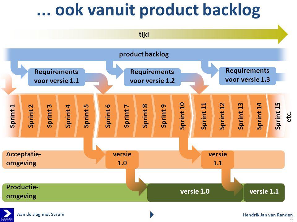 product backlog... ook vanuit product backlog Hendrik Jan van Randen Aan de slag met Scrum 89 tijd Requirements voor versie 1.1 Requirements voor vers