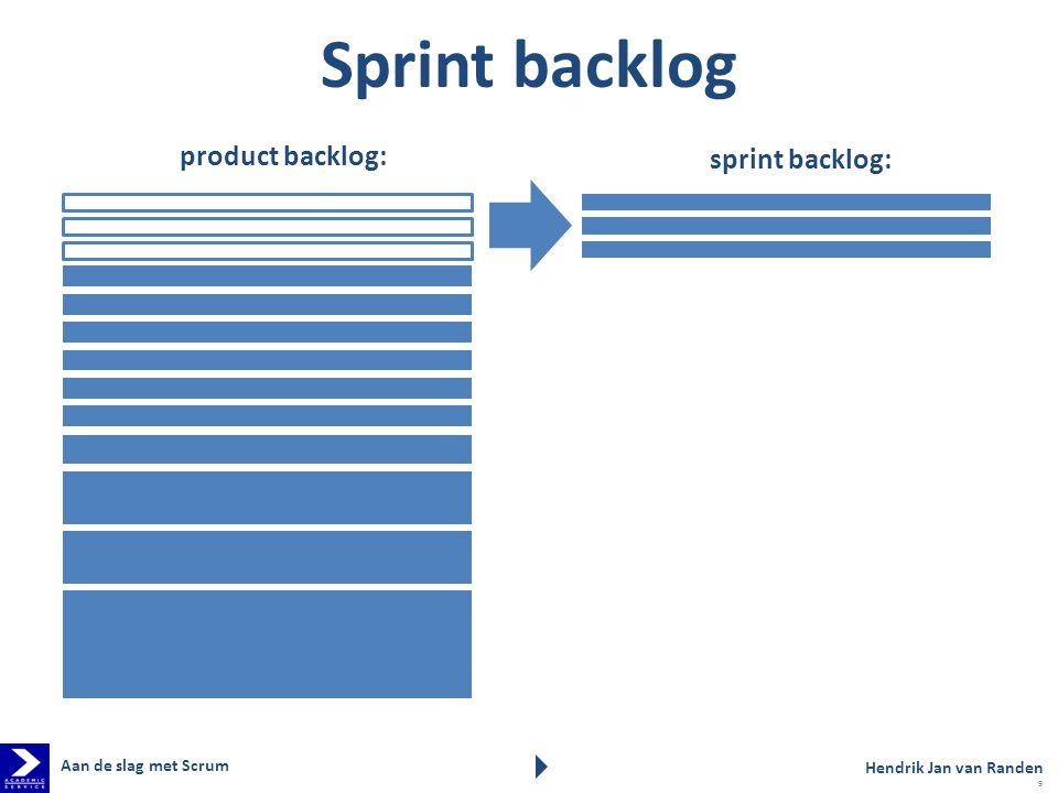product backlog: sprint backlog: Sprint backlog Hendrik Jan van Randen Aan de slag met Scrum 9