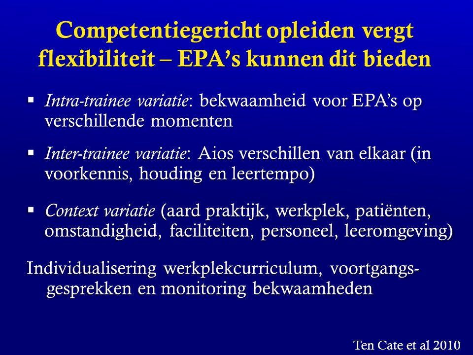 Competentiegericht opleiden vergt flexibiliteit – EPA's kunnen dit bieden  Intra-trainee variatie : bekwaamheid voor EPA's op verschillende momenten