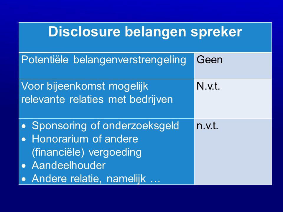 Disclosure belangen spreker Potentiële belangenverstrengeling Geen Voor bijeenkomst mogelijk relevante relaties met bedrijven N.v.t.  Sponsoring of o