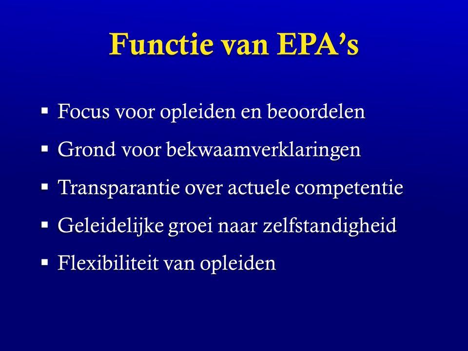 Functie van EPA's  Focus voor opleiden en beoordelen  Grond voor bekwaamverklaringen  Transparantie over actuele competentie  Geleidelijke groei n
