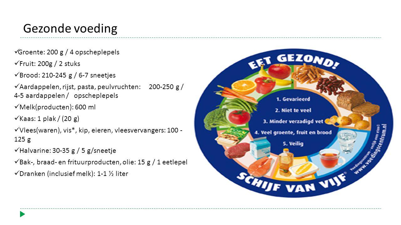 Groente: 200 g / 4 opscheplepels Fruit: 200g / 2 stuks Brood: 210-245 g / 6-7 sneetjes Aardappelen, rijst, pasta, peulvruchten: 200-250 g / 4-5 aardappelen / opscheplepels Melk(producten): 600 ml Kaas: 1 plak / (20 g) Vlees(waren), vis*, kip, eieren, vleesvervangers: 100 - 125 g Halvarine: 30-35 g / 5 g/sneetje Bak-, braad- en frituurproducten, olie: 15 g / 1 eetlepel Dranken (inclusief melk): 1-1 ½ liter Gezonde voeding