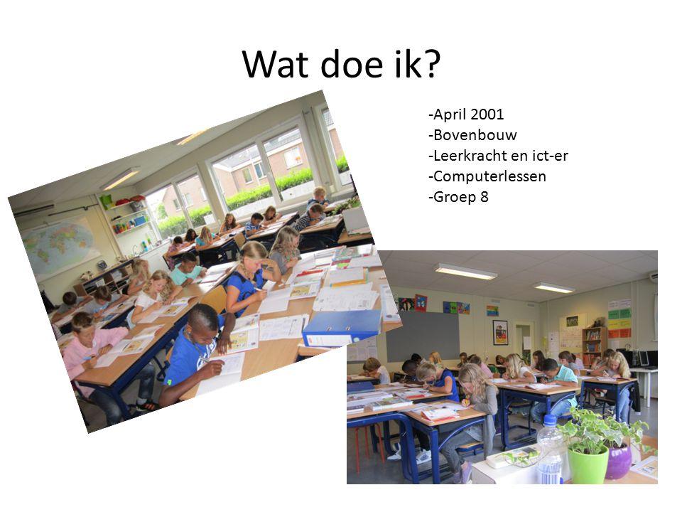 ICT op Balans -Vanaf groepen 3 digitaal schoolbord -Elke groep 2 computers in de klas -Twee eilanden van 12 computers