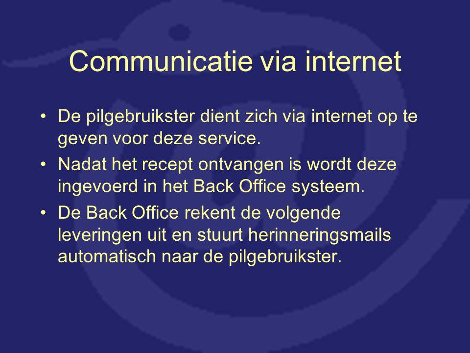 Communicatie via internet De pilgebruikster dient zich via internet op te geven voor deze service. Nadat het recept ontvangen is wordt deze ingevoerd