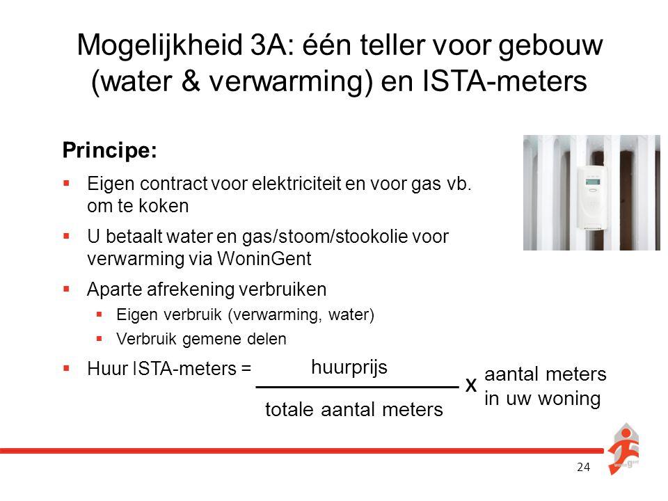 24 Mogelijkheid 3A: één teller voor gebouw (water & verwarming) en ISTA-meters Principe:  Eigen contract voor elektriciteit en voor gas vb. om te kok