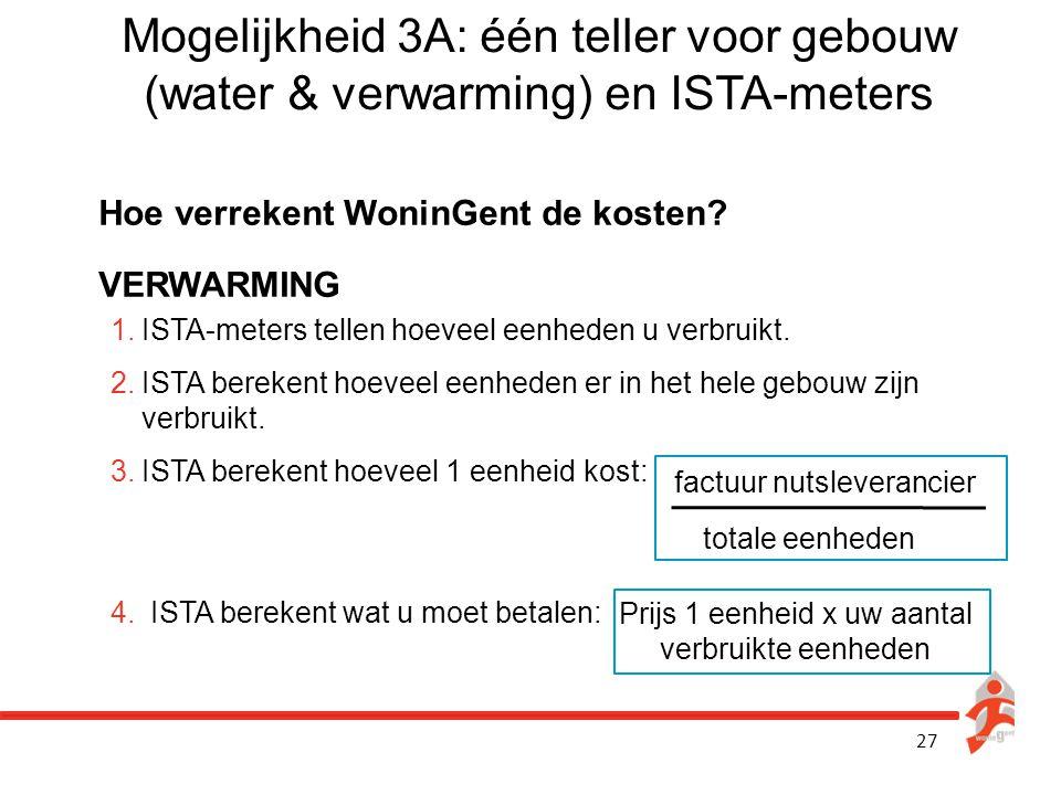 27 Mogelijkheid 3A: één teller voor gebouw (water & verwarming) en ISTA-meters Hoe verrekent WoninGent de kosten? VERWARMING 1.ISTA-meters tellen hoev