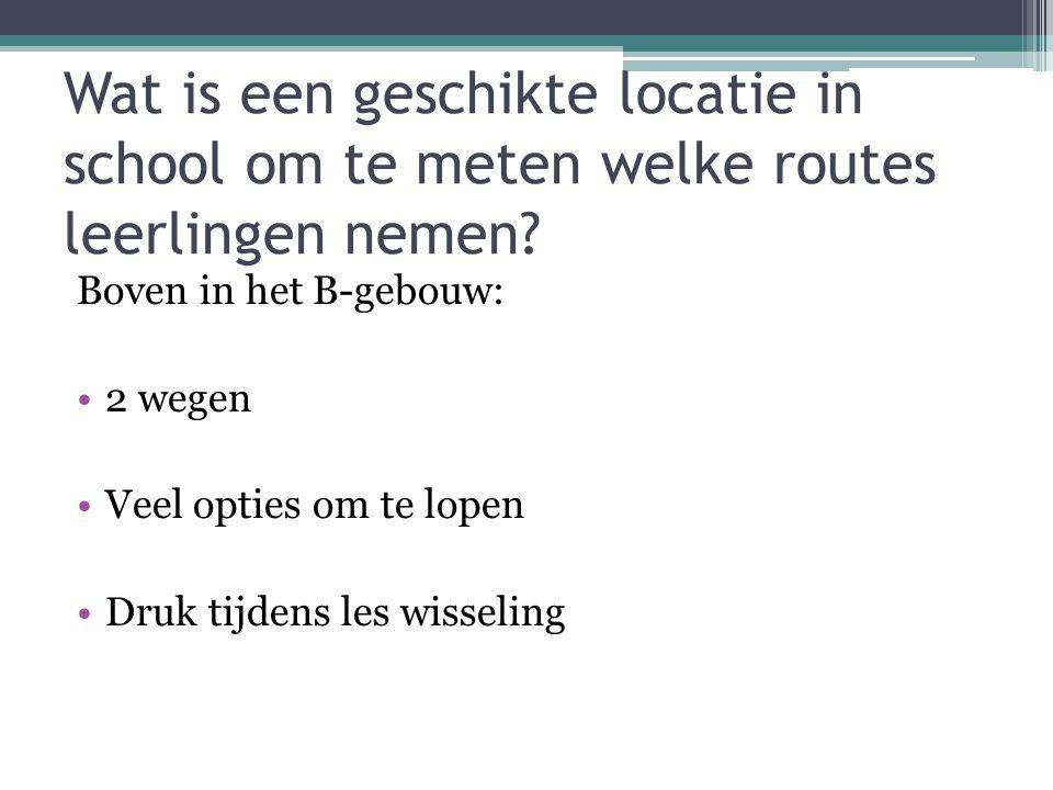 Wat is een geschikte locatie in school om te meten welke routes leerlingen nemen? Boven in het B-gebouw: 2 wegen Veel opties om te lopen Druk tijdens