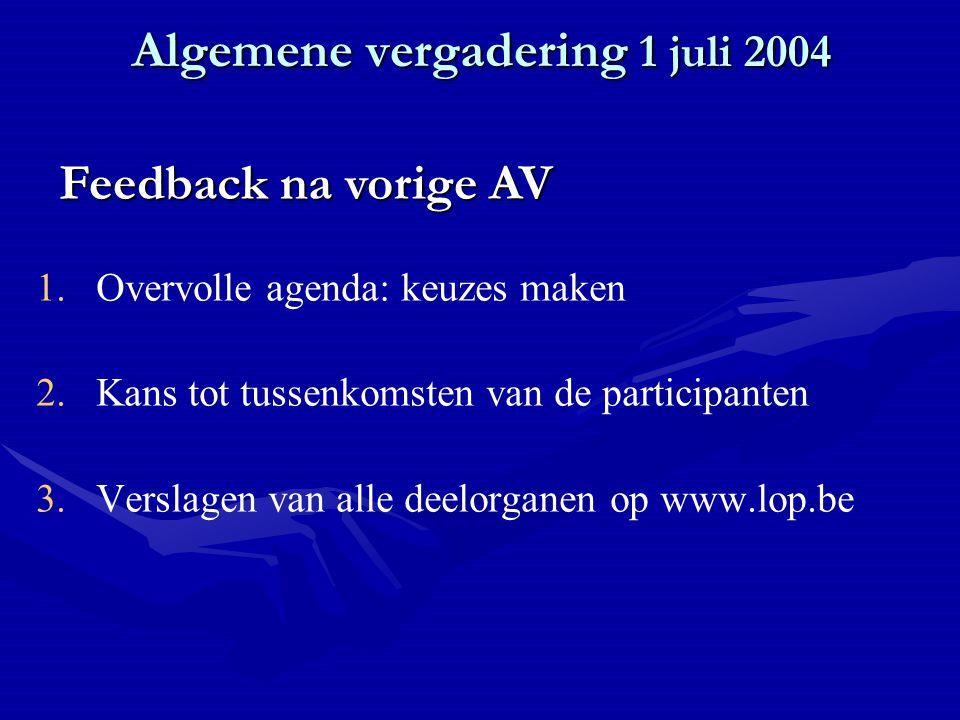 Algemene vergadering 1 juli 2004 1. 1.Overvolle agenda: keuzes maken 2.
