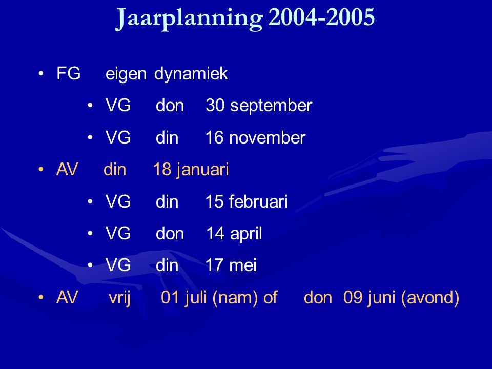 Jaarplanning 2004-2005 FG eigen dynamiek VG don 30 september VG din 16 november AV din 18 januari VG din 15 februari VG don 14 april VG din 17 mei AV vrij 01 juli (nam) of don 09 juni (avond)