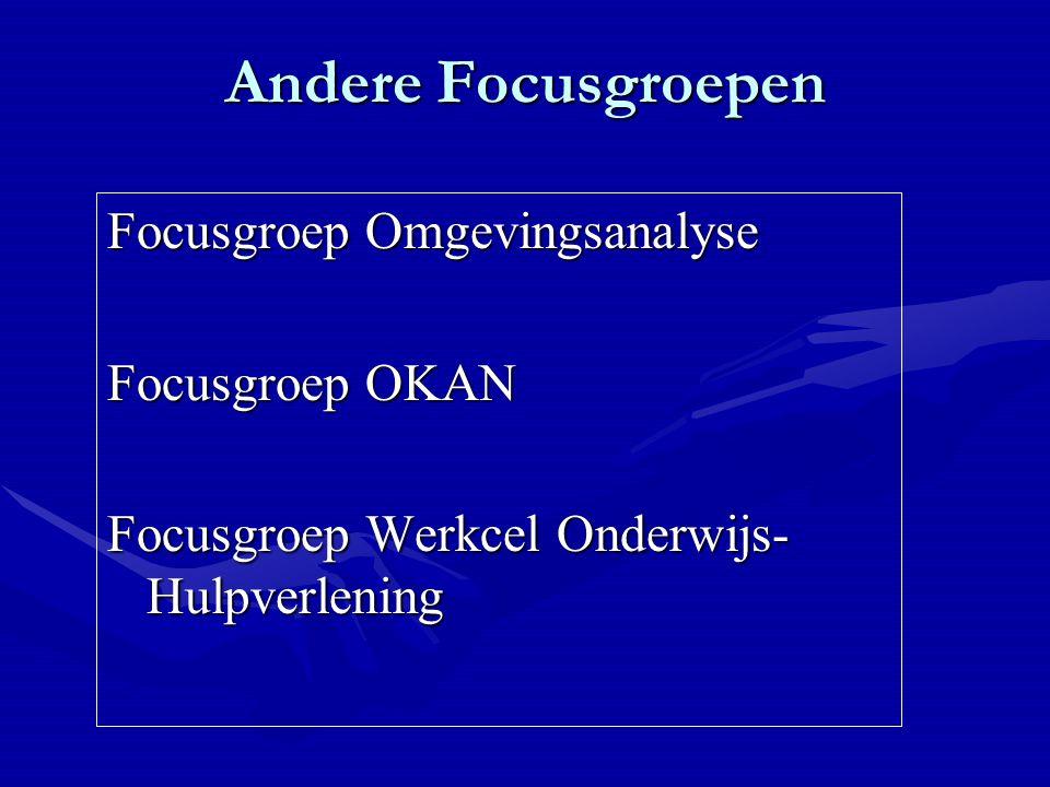 Andere Focusgroepen Focusgroep Omgevingsanalyse Focusgroep OKAN Focusgroep Werkcel Onderwijs- Hulpverlening