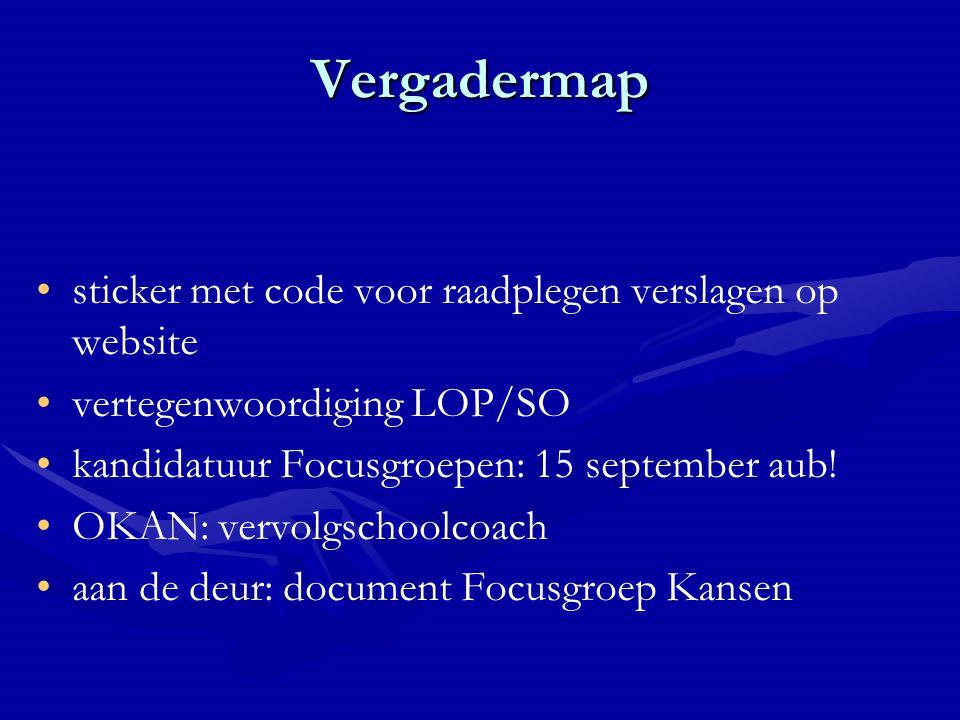 Vergadermap sticker met code voor raadplegen verslagen op website vertegenwoordiging LOP/SO kandidatuur Focusgroepen: 15 september aub.