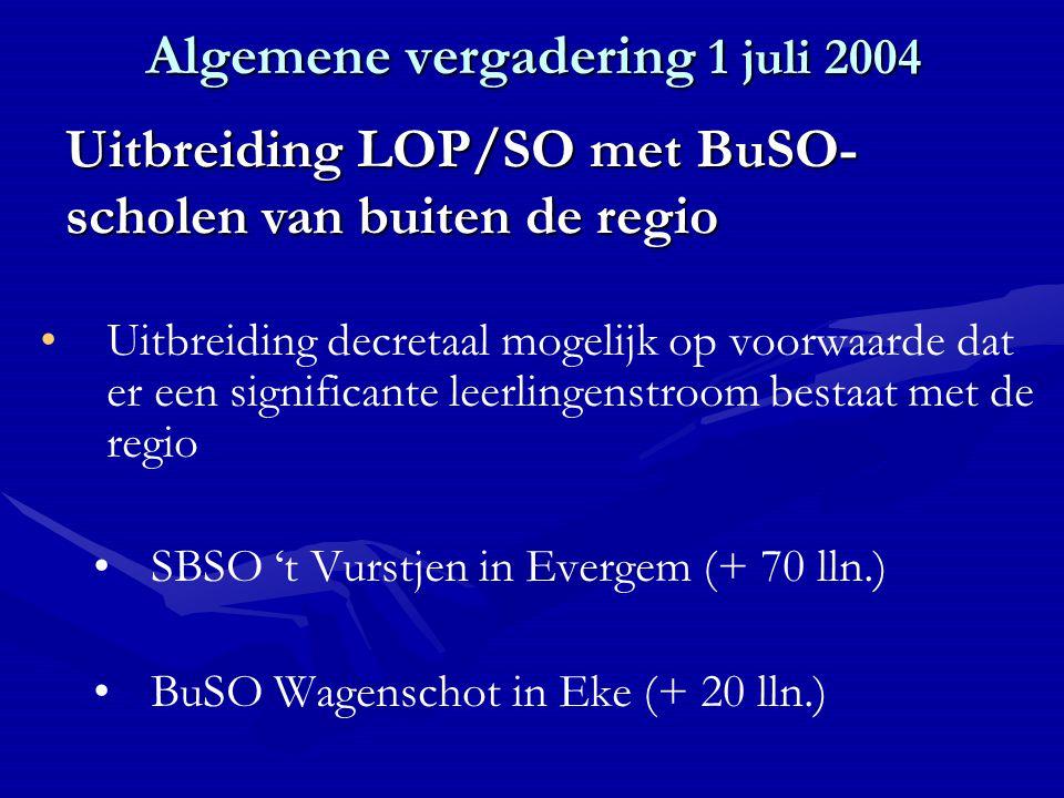 Algemene vergadering 1 juli 2004 Uitbreiding decretaal mogelijk op voorwaarde dat er een significante leerlingenstroom bestaat met de regio SBSO 't Vurstjen in Evergem (+ 70 lln.) BuSO Wagenschot in Eke (+ 20 lln.) Uitbreiding LOP/SO met BuSO- scholen van buiten de regio